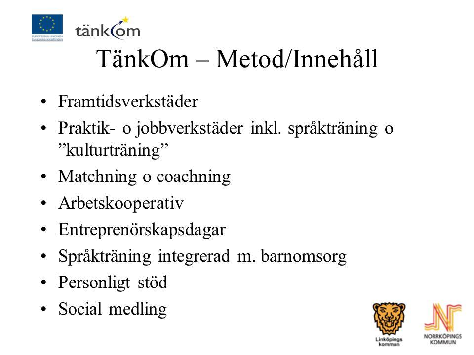 """TänkOm – Metod/Innehåll Framtidsverkstäder Praktik- o jobbverkstäder inkl. språkträning o """"kulturträning"""" Matchning o coachning Arbetskooperativ Entre"""