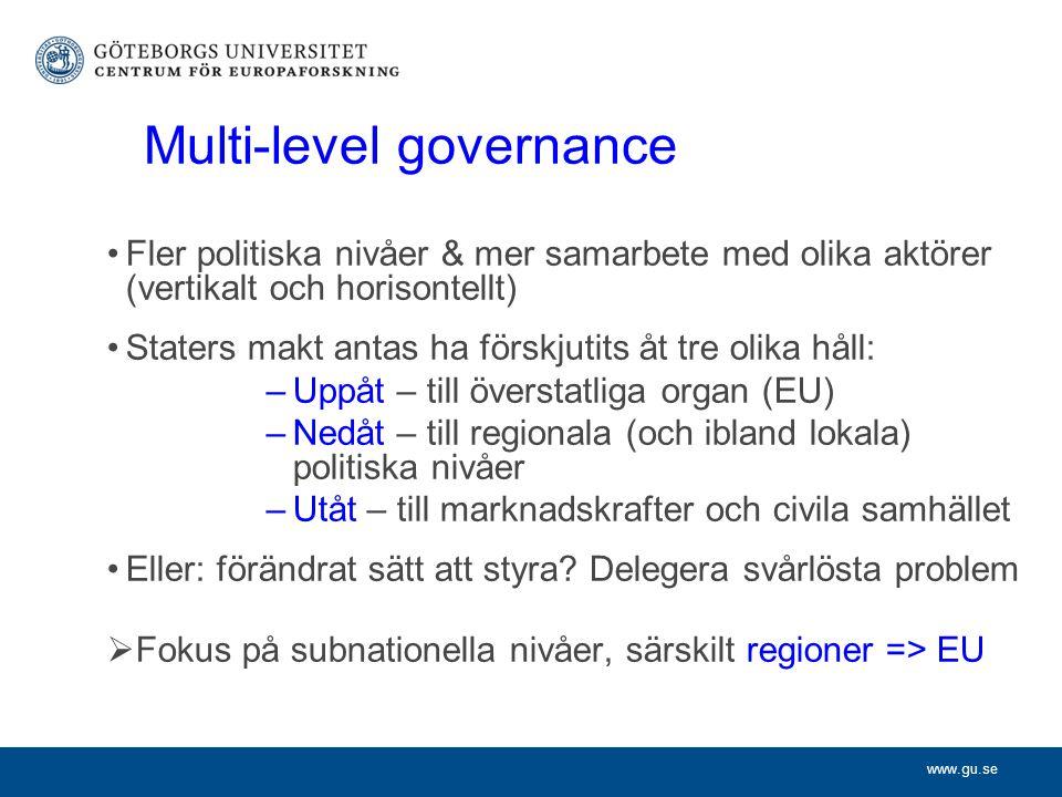 Multi-level governance Fler politiska nivåer & mer samarbete med olika aktörer (vertikalt och horisontellt) Staters makt antas ha förskjutits åt tre olika håll: –Uppåt – till överstatliga organ (EU) –Nedåt – till regionala (och ibland lokala) politiska nivåer –Utåt – till marknadskrafter och civila samhället Eller: förändrat sätt att styra.