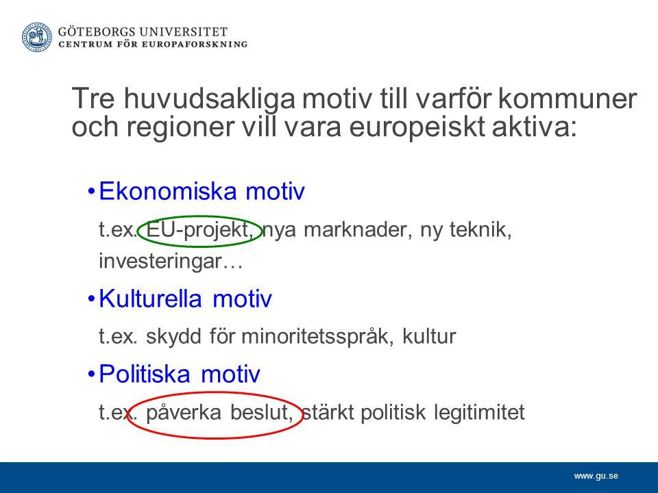 www.gu.se Tre huvudsakliga motiv till varf ö r kommuner och regioner vill vara europeiskt aktiva: Ekonomiska motiv t.ex. EU-projekt, nya marknader, ny
