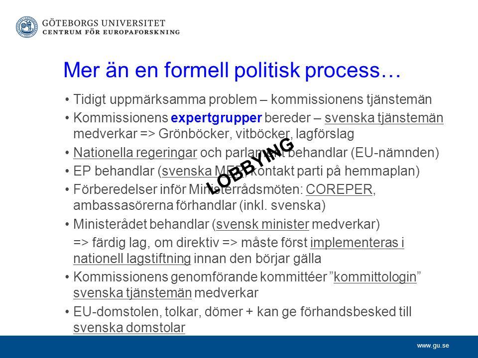 www.gu.se Mer än en formell politisk process… Tidigt uppmärksamma problem – kommissionens tjänstemän Kommissionens expertgrupper bereder – svenska tjä