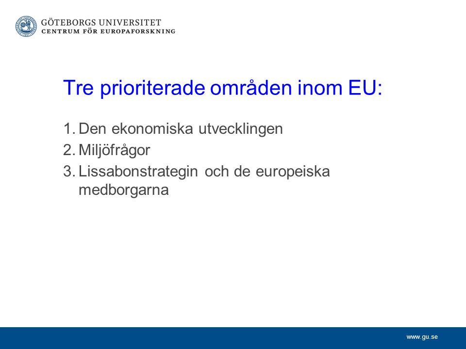 www.gu.se Tre prioriterade områden inom EU: 1.Den ekonomiska utvecklingen 2.Miljöfrågor 3.Lissabonstrategin och de europeiska medborgarna