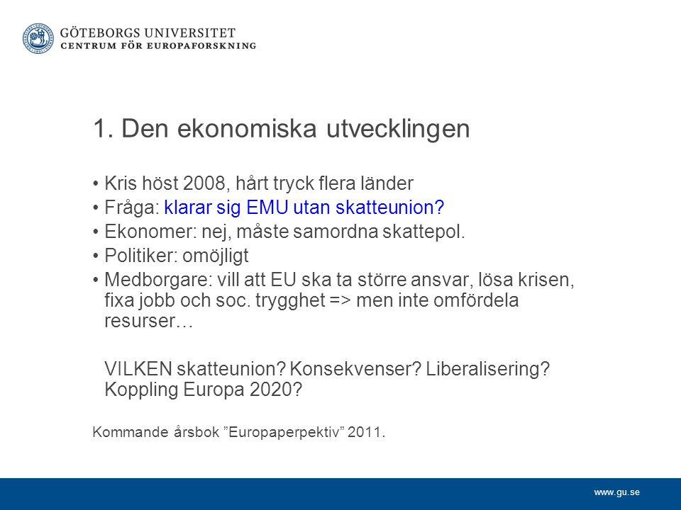 www.gu.se 1. Den ekonomiska utvecklingen Kris höst 2008, hårt tryck flera länder Fråga: klarar sig EMU utan skatteunion? Ekonomer: nej, måste samordna