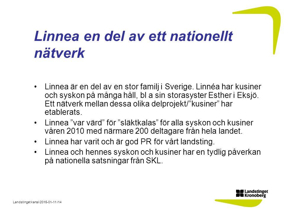 Landstinget kansli 2015-01-11 /14 Linnea en del av ett nationellt nätverk Linnea är en del av en stor familj i Sverige. Linnéa har kusiner och syskon
