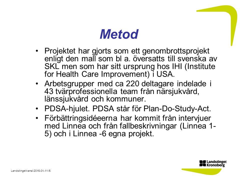 Landstinget kansli 2015-01-11 /5 Metod Projektet har gjorts som ett genombrottsprojekt enligt den mall som bl a. översatts till svenska av SKL men som