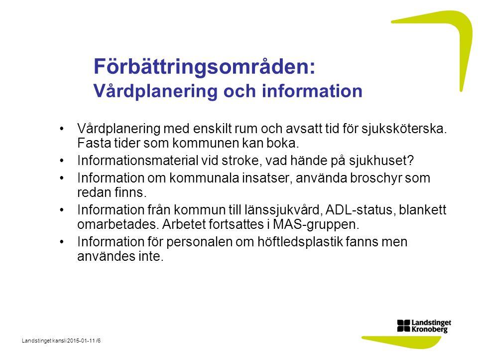 Landstinget kansli 2015-01-11 /6 Förbättringsområden: Vårdplanering och information Vårdplanering med enskilt rum och avsatt tid för sjuksköterska. Fa