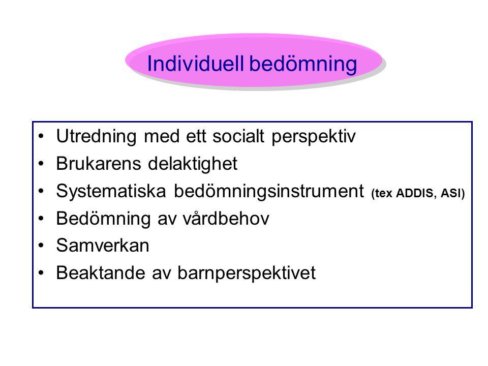 Individuell bedömning Utredning med ett socialt perspektiv Brukarens delaktighet Systematiska bedömningsinstrument (tex ADDIS, ASI) Bedömning av vårdb