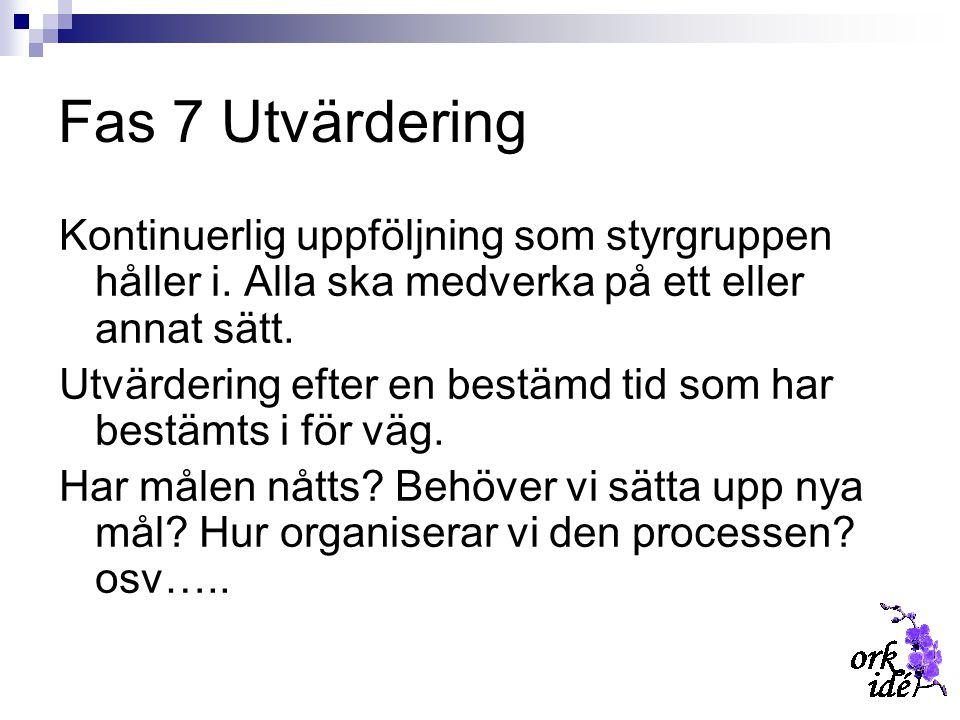 Fas 7 Utvärdering Kontinuerlig uppföljning som styrgruppen håller i. Alla ska medverka på ett eller annat sätt. Utvärdering efter en bestämd tid som h