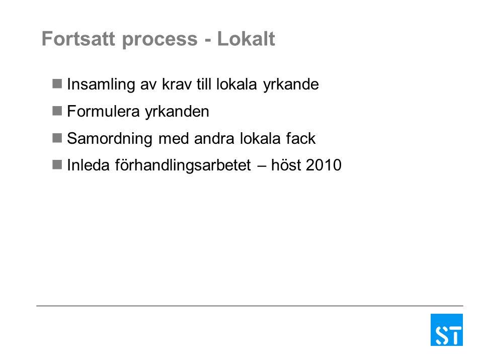 Fortsatt process - Lokalt Insamling av krav till lokala yrkande Formulera yrkanden Samordning med andra lokala fack Inleda förhandlingsarbetet – höst 2010