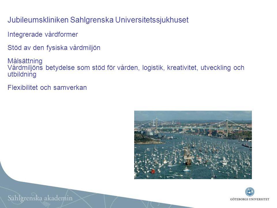 Jubileumskliniken Sahlgrenska Universitetssjukhuset Integrerade vårdformer Stöd av den fysiska vårdmiljön Målsättning Vårdmiljöns betydelse som stöd för vården, logistik, kreativitet, utveckling och utbildning Flexibilitet och samverkan