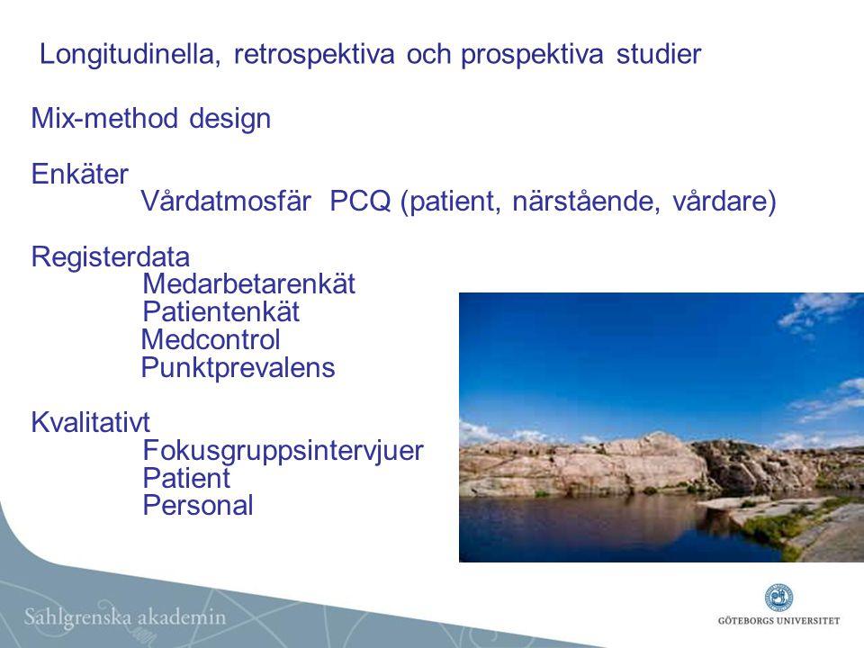 Mix-method design Enkäter Vårdatmosfär PCQ (patient, närstående, vårdare) Registerdata Medarbetarenkät Patientenkät Medcontrol Punktprevalens Kvalitativt Fokusgruppsintervjuer Patient Personal Longitudinella, retrospektiva och prospektiva studier