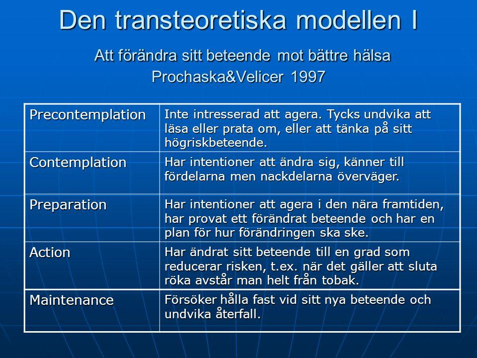 Den transteoretiska modellen I Att förändra sitt beteende mot bättre hälsa Prochaska&Velicer 1997 Precontemplation Inte intresserad att agera.