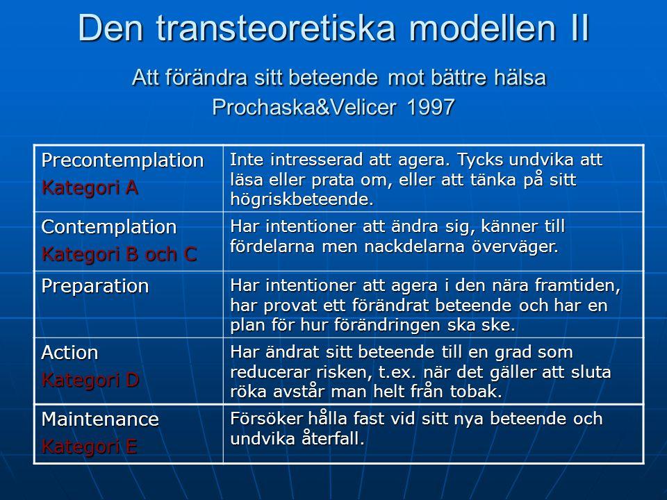 Den transteoretiska modellen II Att förändra sitt beteende mot bättre hälsa Prochaska&Velicer 1997 Precontemplation Kategori A Inte intresserad att agera.