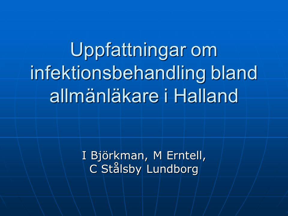 Uppfattningar om infektionsbehandling bland allmänläkare i Halland I Björkman, M Erntell, C Stålsby Lundborg