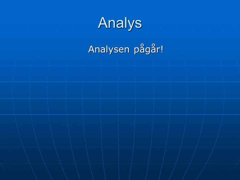 Analys Analysen pågår!