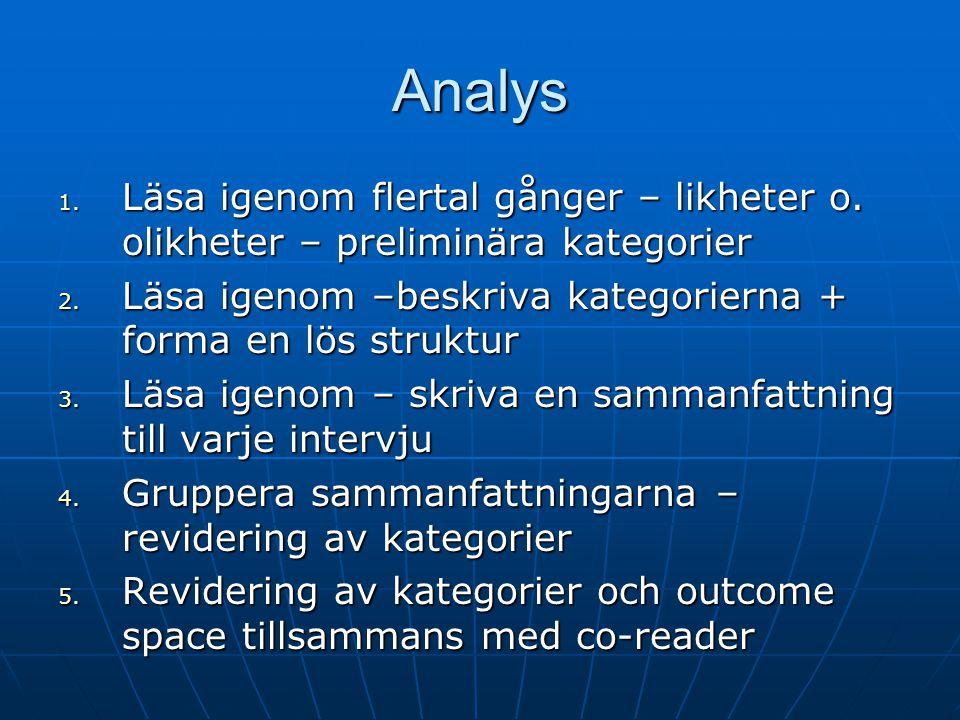 Analys 1. Läsa igenom flertal gånger – likheter o.