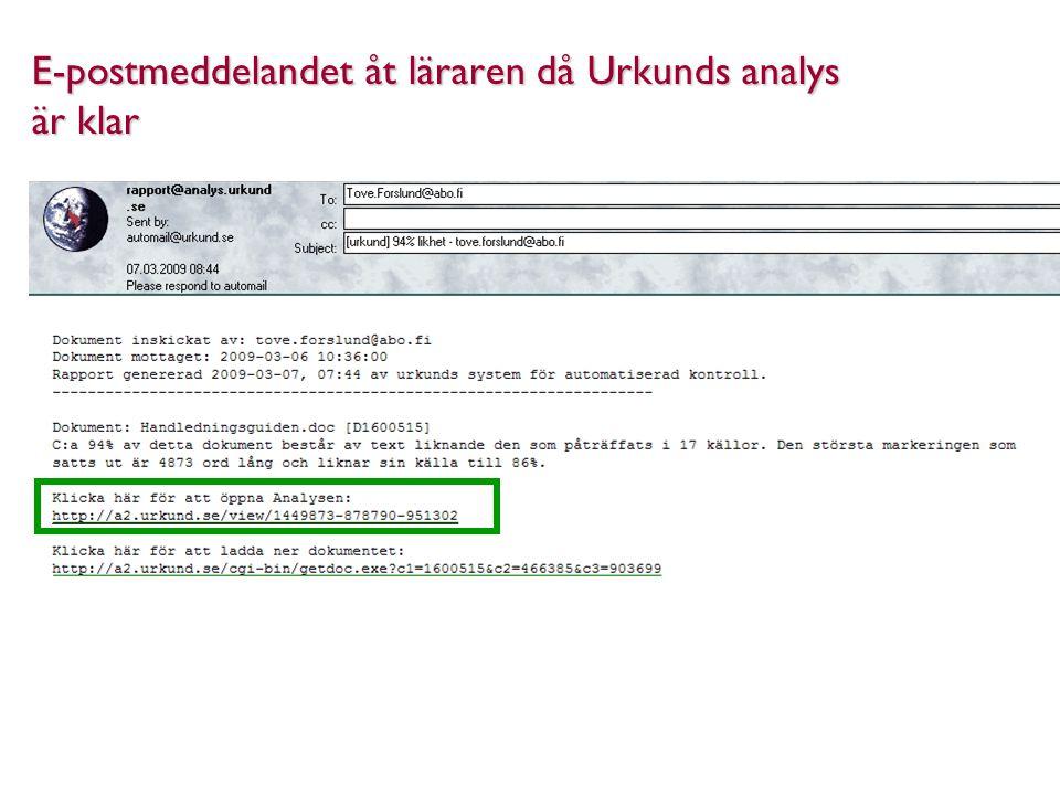 E-postmeddelandet åt läraren då Urkunds analys är klar