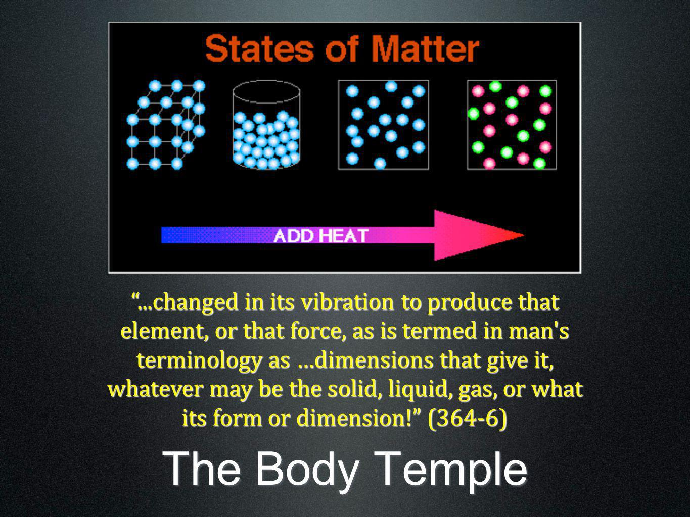 ...changed in its vibration to produce that element, or that force, as is termed in man s terminology as …dimensions that give it, whatever may be the solid, liquid, gas, or what its form or dimension! (364-6)