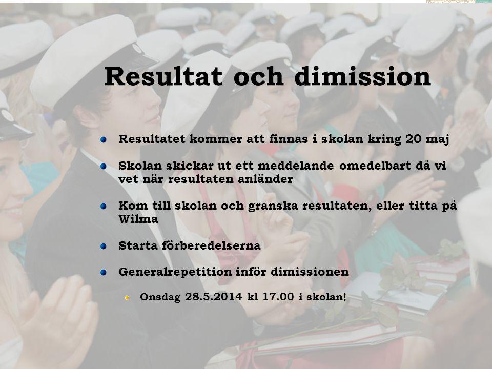 Resultat och dimission Resultatet kommer att finnas i skolan kring 20 maj Skolan skickar ut ett meddelande omedelbart då vi vet när resultaten anlände