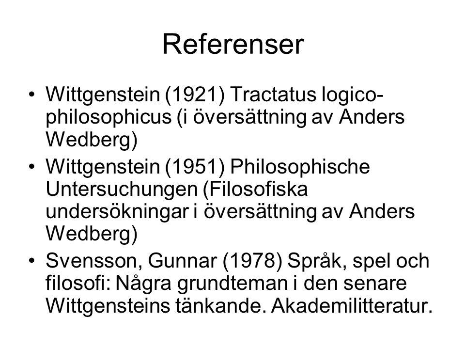 Referenser Wittgenstein (1921) Tractatus logico- philosophicus (i översättning av Anders Wedberg) Wittgenstein (1951) Philosophische Untersuchungen (Filosofiska undersökningar i översättning av Anders Wedberg) Svensson, Gunnar (1978) Språk, spel och filosofi: Några grundteman i den senare Wittgensteins tänkande.