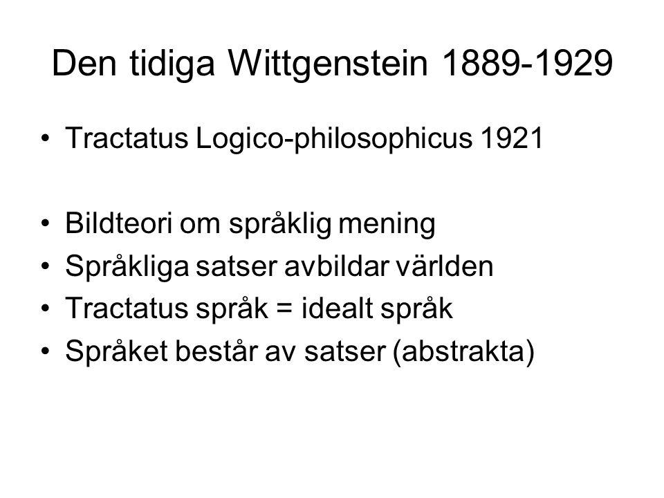 Den tidiga Wittgenstein 1889-1929 Tractatus Logico-philosophicus 1921 Bildteori om språklig mening Språkliga satser avbildar världen Tractatus språk = idealt språk Språket består av satser (abstrakta)
