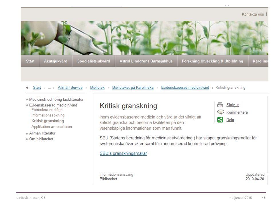 11 januari 2015Lotta Mathiesen, KIB18