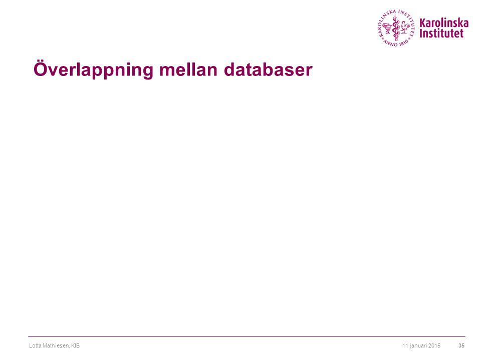 Överlappning mellan databaser 11 januari 2015Lotta Mathiesen, KIB35