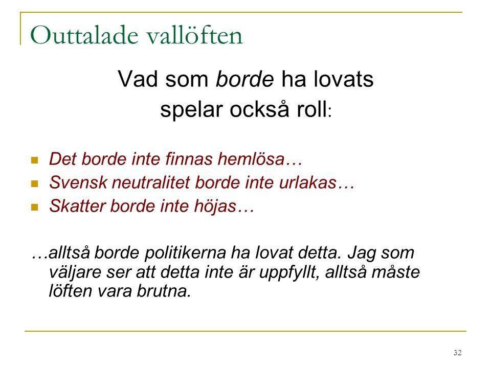32 Outtalade vallöften Vad som borde ha lovats spelar också roll : Det borde inte finnas hemlösa… Svensk neutralitet borde inte urlakas… Skatter borde inte höjas… …alltså borde politikerna ha lovat detta.