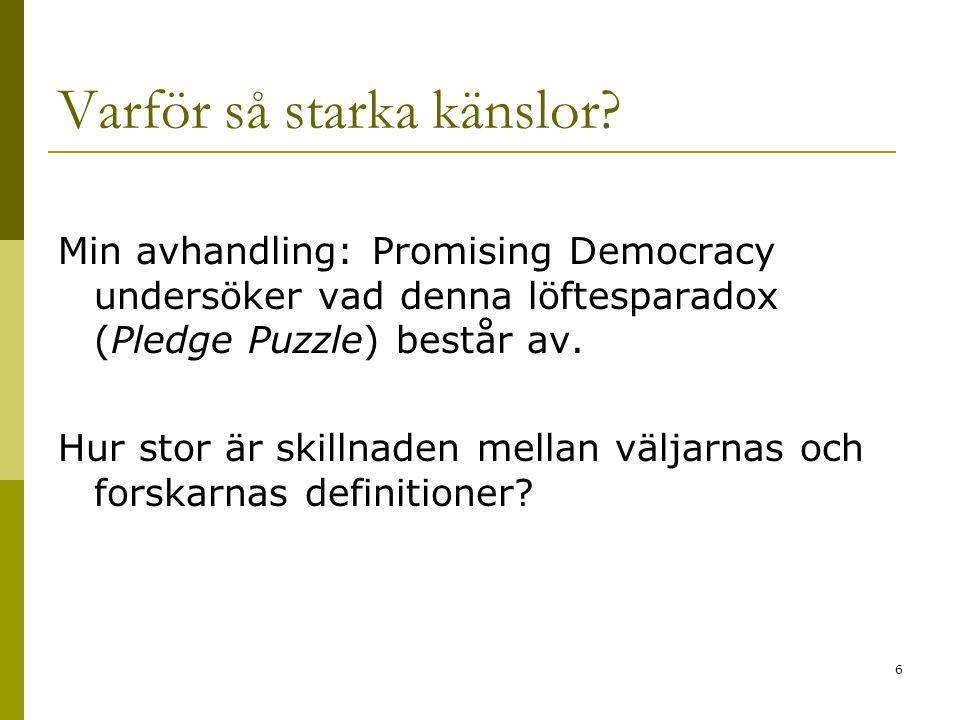 7 Forskarnas roll i löftesparadoxen  Vallöften är VIKTIGA för statsvetarna när vi beskriver hur representativ demokrati fungerar i teorin 1.