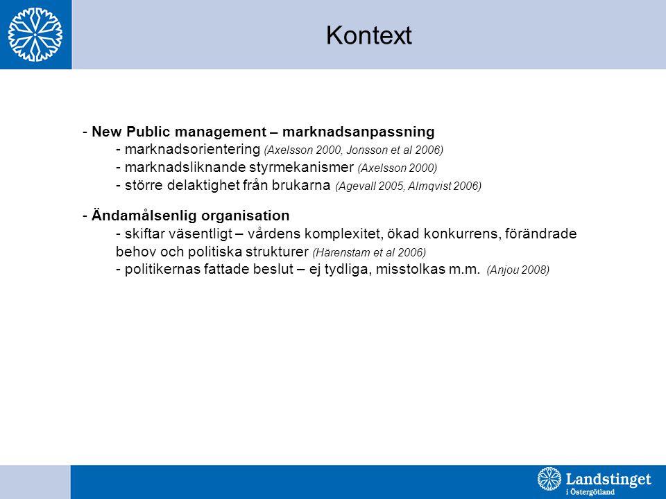 Kontext - New Public management – marknadsanpassning - marknadsorientering (Axelsson 2000, Jonsson et al 2006) - marknadsliknande styrmekanismer (Axel