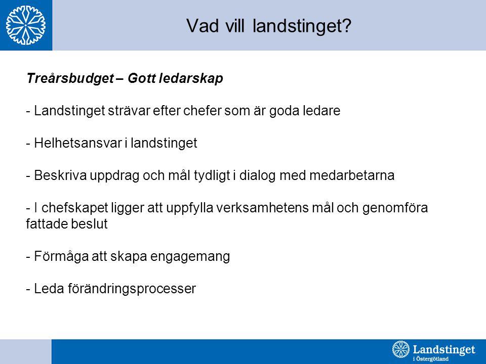 Vad vill landstinget? Treårsbudget – Gott ledarskap - Landstinget strävar efter chefer som är goda ledare - Helhetsansvar i landstinget - Beskriva upp