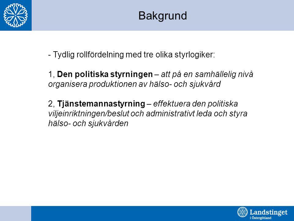 Bakgrund - Tydlig rollfördelning med tre olika styrlogiker: 1, Den politiska styrningen – att på en samhällelig nivå organisera produktionen av hälso-