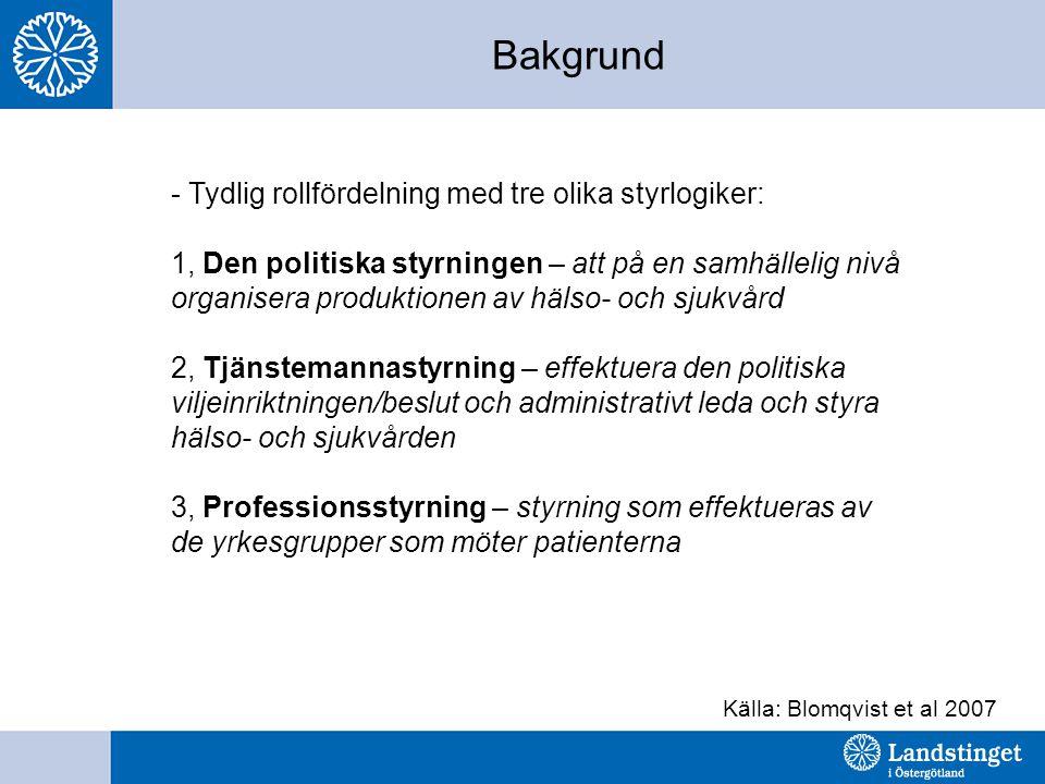 Bakgrund - Tydlig rollfördelning med tre olika styrlogiker: 1, Den politiska styrningen – att på en samhällelig nivå organisera produktionen av hälso- och sjukvård 2, Tjänstemannastyrning – effektuera den politiska viljeinriktningen/beslut och administrativt leda och styra hälso- och sjukvården 3, Professionsstyrning – styrning som effektueras av de yrkesgrupper som möter patienterna Källa: Blomqvist et al 2007