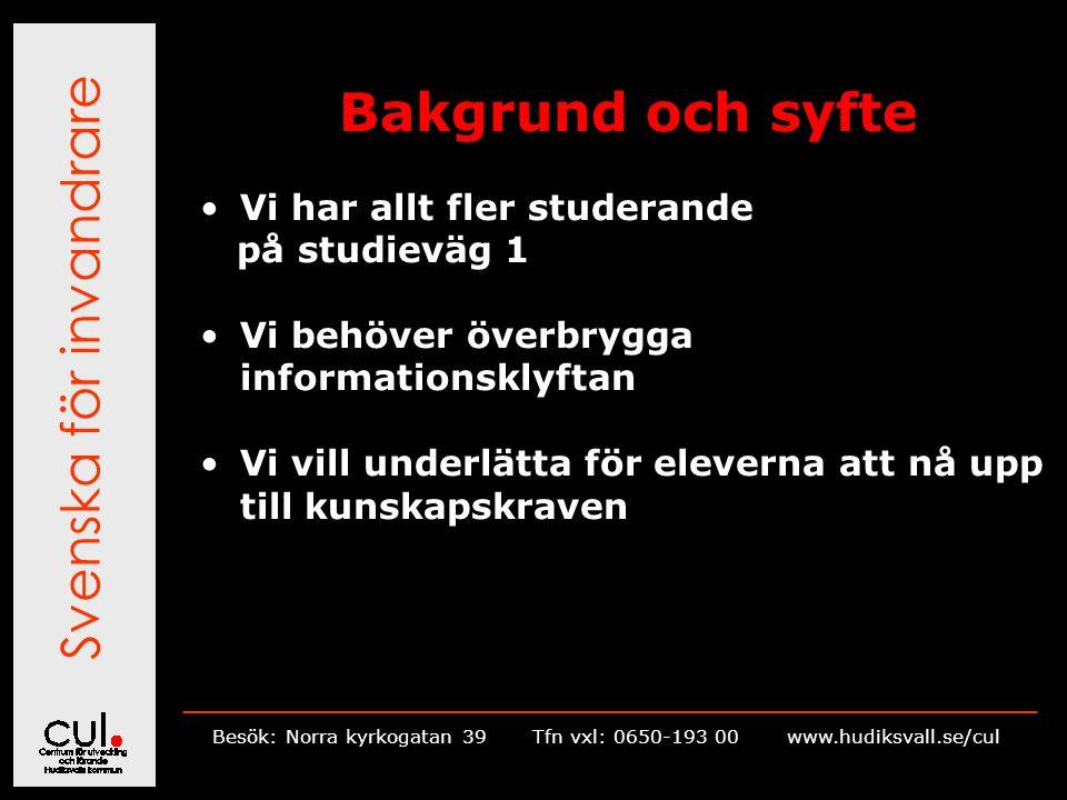 Svenska för invandrare __________________________________________________________ Besök: Norra kyrkogatan 39Tfn vxl: 0650-193 00 www.hudiksvall.se/cul Bakgrund och syfte Vi har allt fler studerande på studieväg 1 Vi behöver överbrygga informationsklyftan Vi vill underlätta för eleverna att nå upp till kunskapskraven