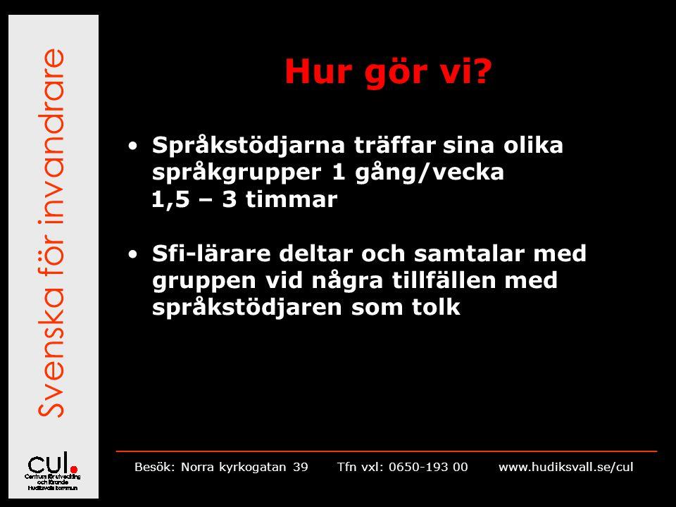 Svenska för invandrare __________________________________________________________ Besök: Norra kyrkogatan 39Tfn vxl: 0650-193 00 www.hudiksvall.se/cul Hur gör vi.