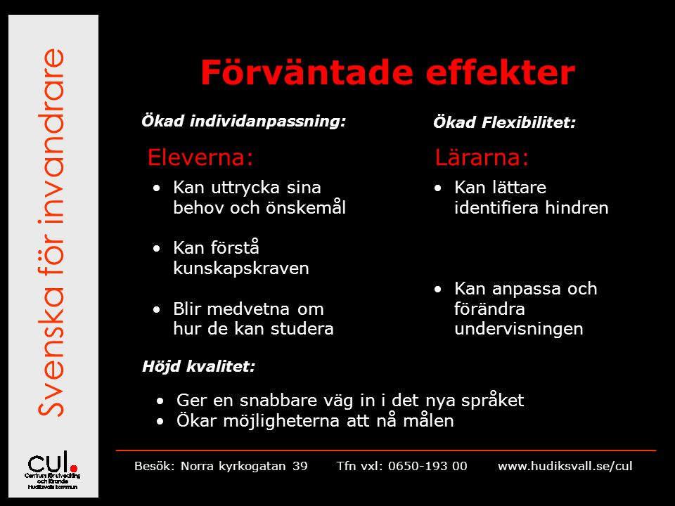 Svenska för invandrare __________________________________________________________ Besök: Norra kyrkogatan 39Tfn vxl: 0650-193 00 www.hudiksvall.se/cul Förväntade effekter Ökad individanpassning: Ökad Flexibilitet: Eleverna:Lärarna: Kan uttrycka sina behov och önskemål Kan förstå kunskapskraven Blir medvetna om hur de kan studera Kan lättare identifiera hindren Kan anpassa och förändra undervisningen Höjd kvalitet: Ger en snabbare väg in i det nya språket Ökar möjligheterna att nå målen