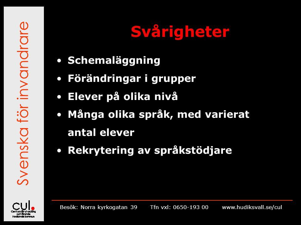 Svenska för invandrare __________________________________________________________ Besök: Norra kyrkogatan 39Tfn vxl: 0650-193 00 www.hudiksvall.se/cul Svårigheter Schemaläggning Förändringar i grupper Elever på olika nivå Många olika språk, med varierat antal elever Rekrytering av språkstödjare