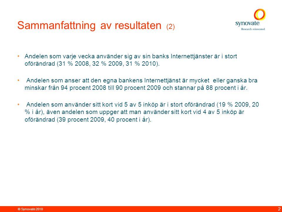 © Synovate 2010 2 Sammanfattning av resultaten (2) Andelen som varje vecka använder sig av sin banks Internettjänster är i stort oförändrad (31 % 2008, 32 % 2009, 31 % 2010).