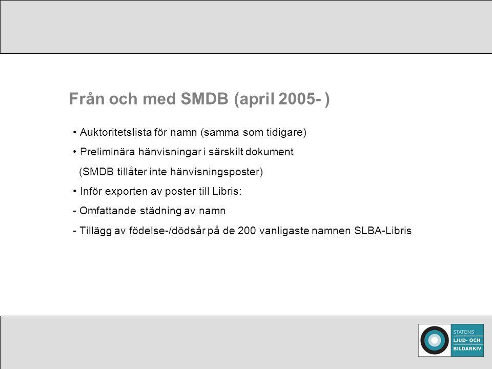 Från och med SMDB (april 2005- ) Auktoritetslista för namn (samma som tidigare) Preliminära hänvisningar i särskilt dokument (SMDB tillåter inte hänvisningsposter) Inför exporten av poster till Libris: - Omfattande städning av namn - Tillägg av födelse-/dödsår på de 200 vanligaste namnen SLBA-Libris