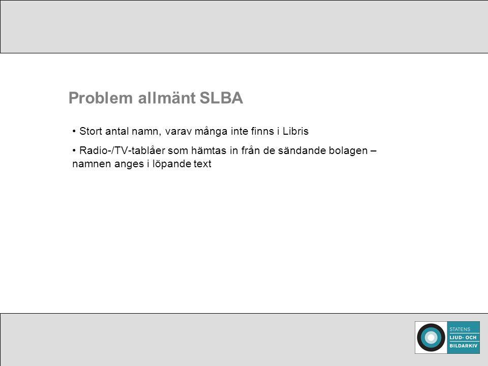 Problem allmänt SLBA Stort antal namn, varav många inte finns i Libris Radio-/TV-tablåer som hämtas in från de sändande bolagen – namnen anges i löpande text