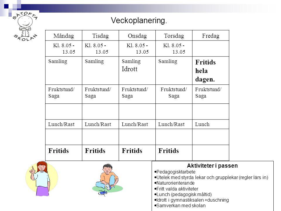 Aktiviteter i passen  Pedagogisktarbete  Utelek med styrda lekar och grupplekar (regler lärs in)  Naturorienterande  Fritt valda aktiviteter  Lun