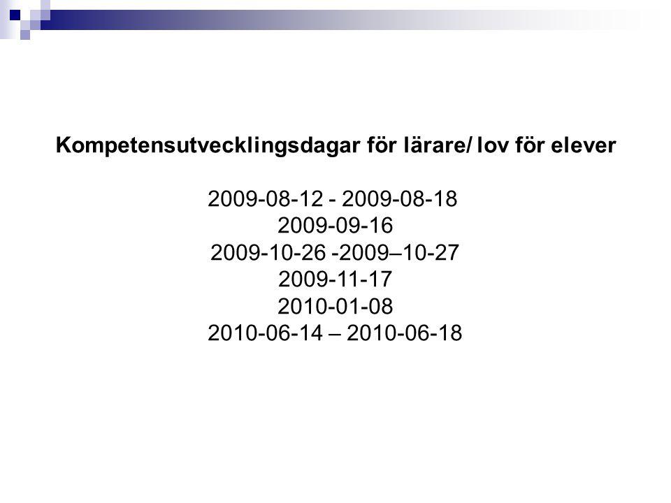 Kompetensutvecklingsdagar för lärare/ lov för elever 2009-08-12 - 2009-08-18 2009-09-16 2009-10-26 -2009–10-27 2009-11-17 2010-01-08 2010-06-14 – 2010