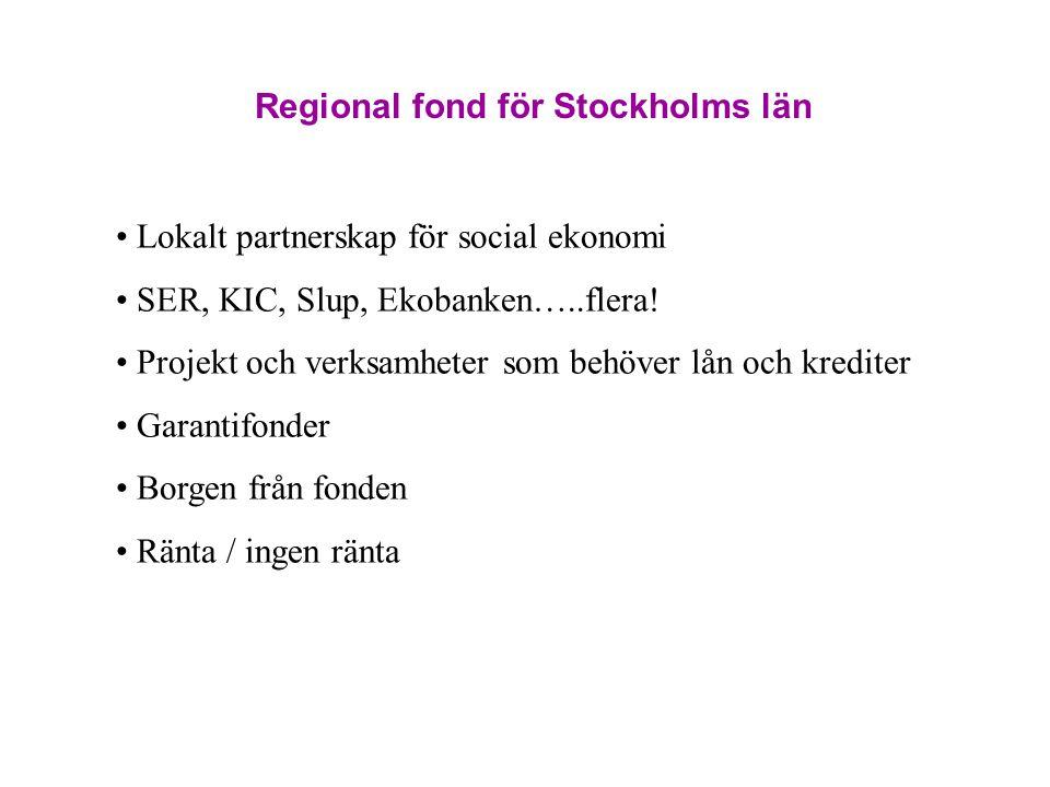 Regional fond för Stockholms län Lokalt partnerskap för social ekonomi SER, KIC, Slup, Ekobanken…..flera! Projekt och verksamheter som behöver lån och