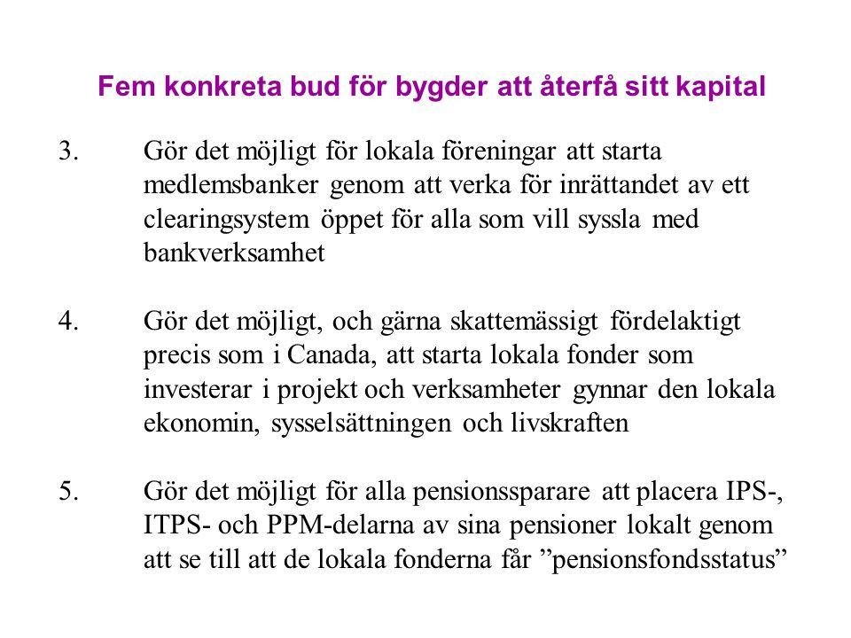 Fem konkreta bud för bygder att återfå sitt kapital 3.Gör det möjligt för lokala föreningar att starta medlemsbanker genom att verka för inrättandet a