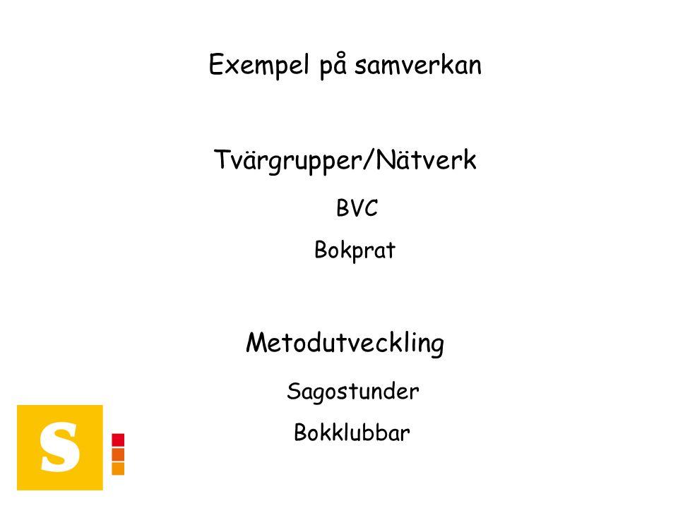 Exempel på samverkan Tvärgrupper/Nätverk BVC Bokprat Metodutveckling Sagostunder Bokklubbar