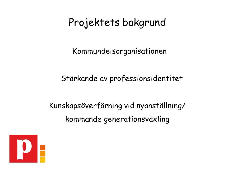 Projektets bakgrund Kommundelsorganisationen Stärkande av professionsidentitet Kunskapsöverförning vid nyanställning/ kommande generationsväxling