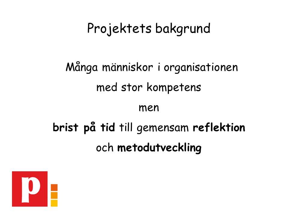 Projektets bakgrund Många människor i organisationen med stor kompetens men brist på tid till gemensam reflektion och metodutveckling