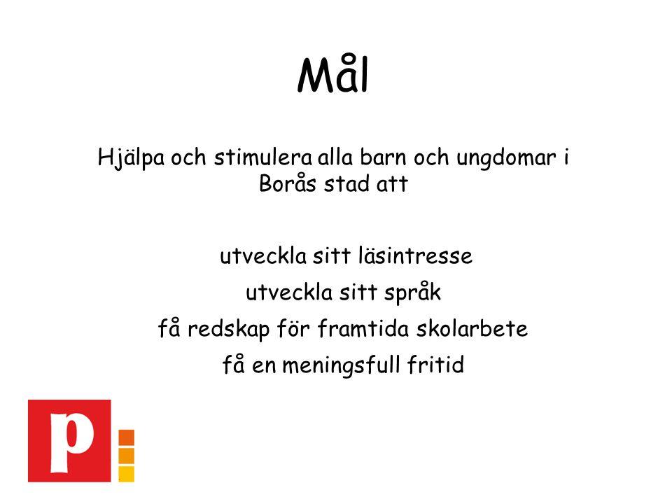 Mål Hjälpa och stimulera alla barn och ungdomar i Borås stad att utveckla sitt läsintresse utveckla sitt språk få redskap för framtida skolarbete få en meningsfull fritid