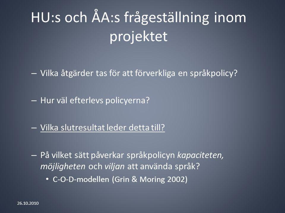 HU:s och ÅA:s frågeställning inom projektet – Vilka åtgärder tas för att förverkliga en språkpolicy.
