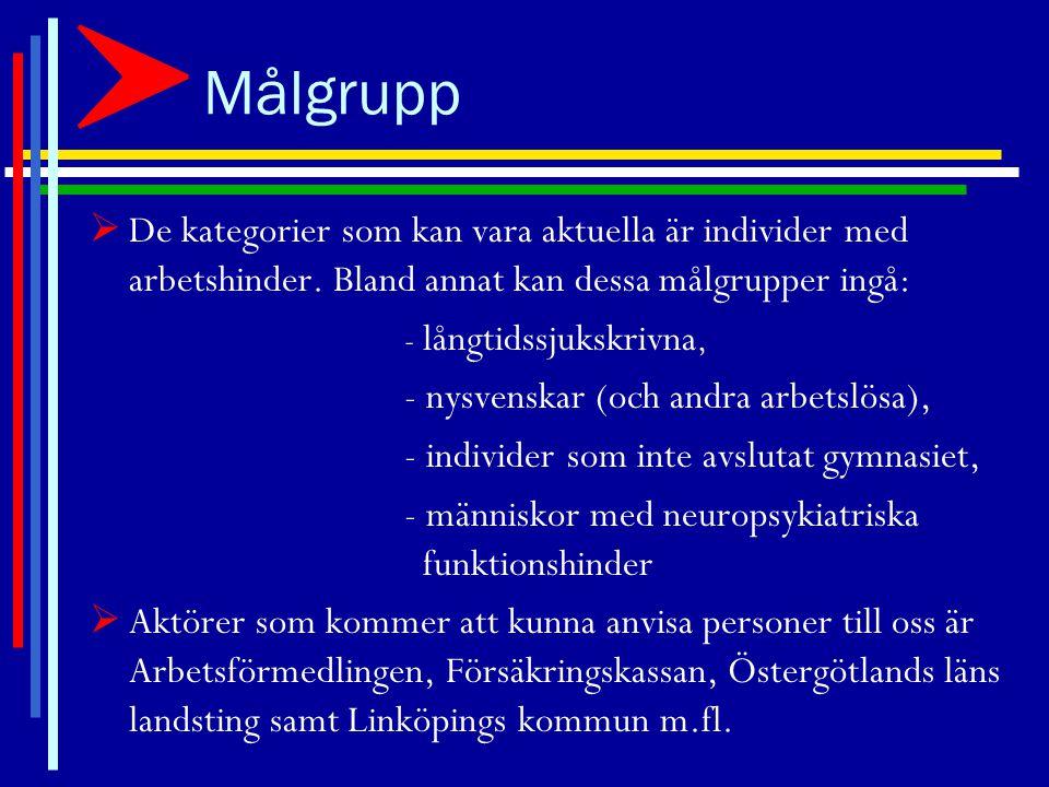 Aktivitetsplan – kort sikt  Etablera samarbete med aktörer inom Samordningsförbundet Centrala Östergötland i Linköping/Kinda/Åtvidaberg.