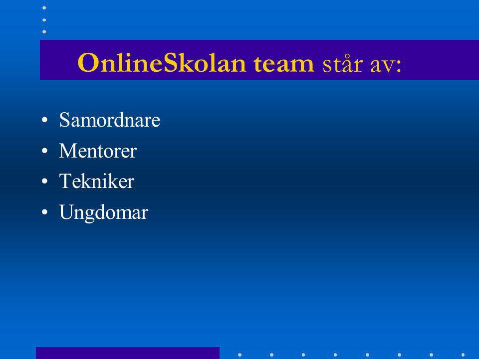 OnlineSkolan team står av: Samordnare Mentorer Tekniker Ungdomar